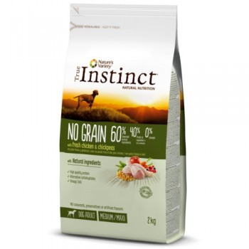 Pienso para perros No Grain Med Adult Chicken 2 Kg - True Instinct