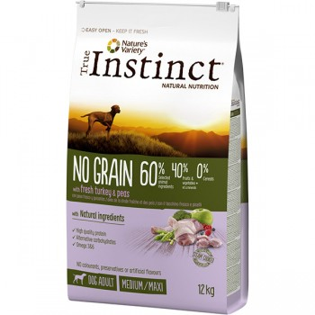 Pienso para perros No Grain Medium Adult Turkey 12 Kg - True Instinct